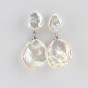 Keshi Handmade double natural pearl earrings